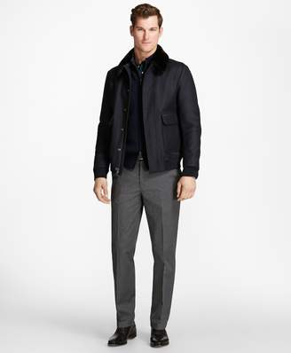 Brooks Brothers Fur Collar Wool Bomber
