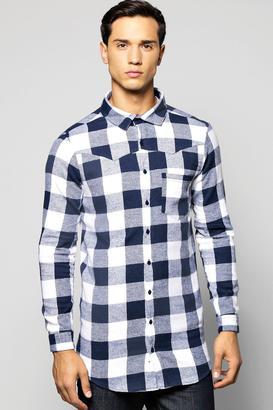 boohoo Long Sleeve buffalo Longline Shirt