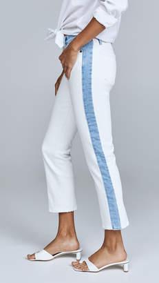 Frame Le High Straight Leg Jeans with Indigo Blocking