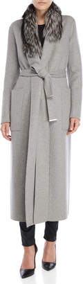 Soia & Kyo Grey Real Fur Belted Coat