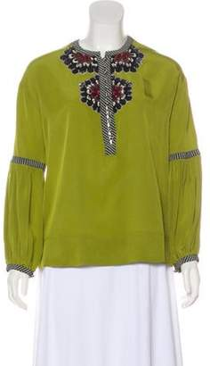 Derek Lam Silk Embellished Blouse Olive Silk Embellished Blouse