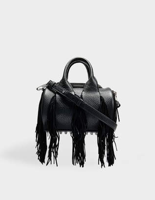 Alexander Wang Mini Rockie Bag With Fringes in Black Calfskin