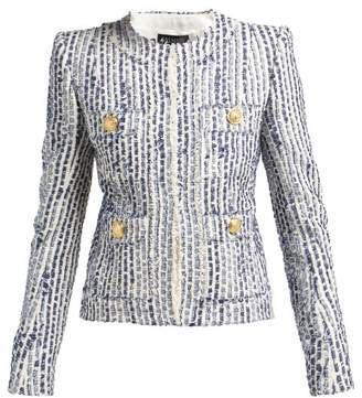 Balmain Striped Cotton Blend Tweed Jacket - Womens - Blue White
