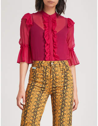 Alice + Olivia Alice & Olivia Odele ruffled silk-chiffon blouse