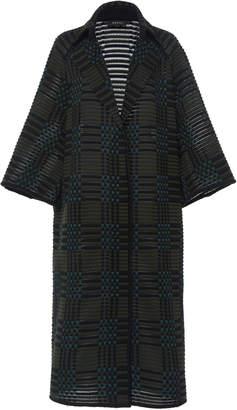 Akris Elisa Wool-Blend Knit Plaid Coat