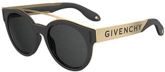 Givenchy Stainless Steel & Rubber Round Logo Sunglasses