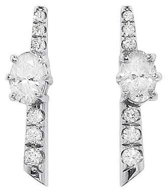 Jade Trau Oval Rae Stud Earrings - White Gold