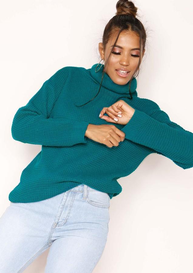 Missyempire Harper Jade Green Knit Roll Neck Jumper