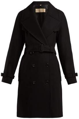 Burberry Cranston Wool Blend Trench Coat - Womens - Black