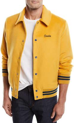 Ovadia & Sons Men's Snap-Front Melton Wool Varsity Jacket w/ Logo Embroidery