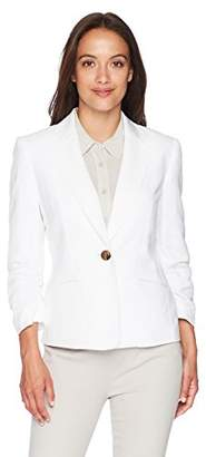 Kasper Women's Petite 1 BTN Linen Notch Collar JKT with Pockets