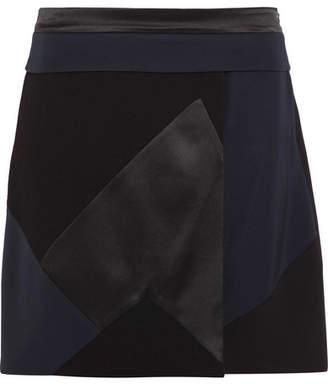 Victoria Beckham Victoria, Patchwork Silk-satin, Twill And Wool-crepe Mini Skirt - Black