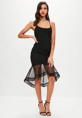 Missguided Black Lace Hem Midi Fishtail Dress