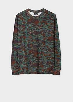 910c515c Men's Khaki 'Shifted Camo' Print Cotton Long-Sleeve T-Shirt