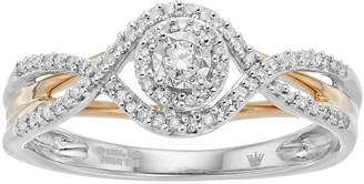 Hallmark Two Tone Sterling Silver 1/5 Carat T.W. Diamond Halo Ring