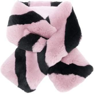 N.Peal striped fur scarf