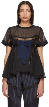 Sacai Black Mesh Shirting Blouse