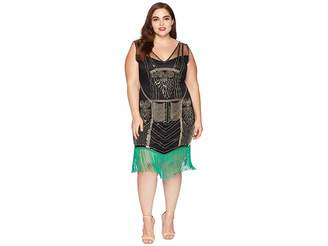 Unique Vintage Plus Size Beaded Fringe Henriette Flapper Dress