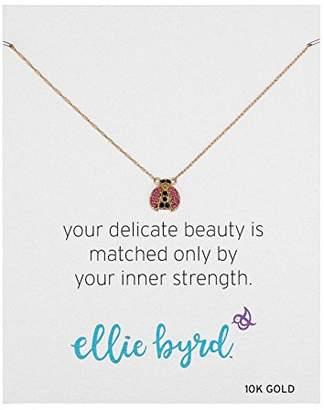 "Swarovski ellie byrd 10k Yellow Gold Ladybug Necklace Made with Crystal (17"")"