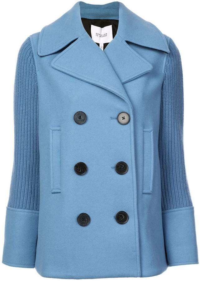 Double Breasted Pea Coat with Knit Sleeves