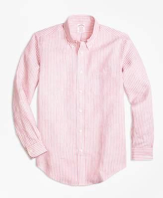 Brooks Brothers Madison Fit Stripe Irish Linen Sport Shirt