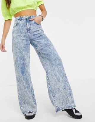 Asos Design DESIGN Full length lightweight wide leg jeans in acid wash