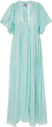 Thierry Colson Shanta Pleated Striped Cotton And Silk-Blend Maxi Dress