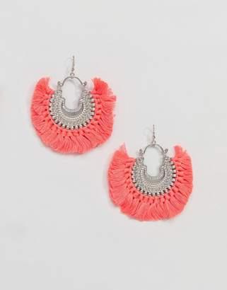 Asos Design Engraved Burnished Tassel Hoop Earrings