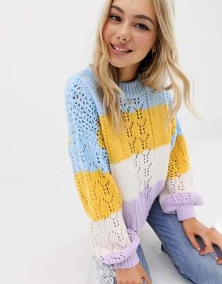 Asos (エイソス) - Asos Design ASOS DESIGN striped open stitch sweater in fluffy yarn