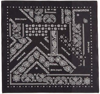 Palm Angels Black Broken Down Bandana Scarf
