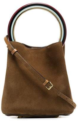 Marni Brown Pannier Suede Leather Bucket Bag