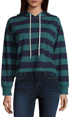 Arizona Long Sleeve Knit Stripe Hoodie-Juniors