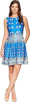 Gabby Skye Women's Sleeveless Round Neck Scuba A-line Dress