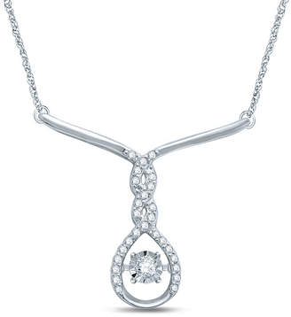 FINE JEWELRY Love in Motion 1/5 CT. T.W. Diamond Sterling Silver Necklace