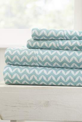 IENJOY HOME Home Spun Premium Ultra Soft Puffed Chevron Pattern 4-Piece Full Bed Sheet Set - Light Blue