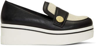 Stella McCartney Black Shearling Binx Platform Slip-On Sneakers