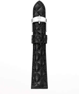 Michele 20mm Quilted Leather Watch Strap, Black