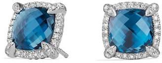 David Yurman Châtelaine Pavé Bezel Stud Earrings with Hampton Blue Topaz and Diamonds