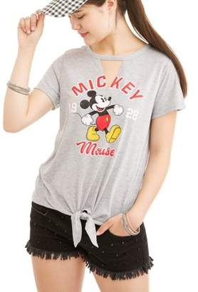 Mickey Mouse Juniors' Graphic Cut-Out Tie Front T-Shirt