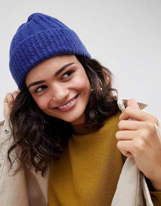 Asos DESIGN rib turn up beanie in colbolt blue