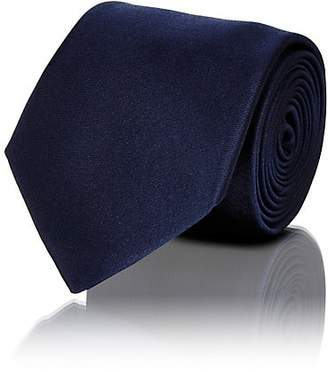 Barneys New York Men's Solid Silk Satin Necktie - Navy