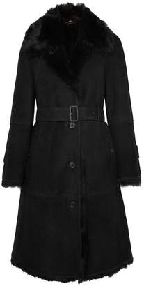 Burberry Belted Shearling Coat - Black