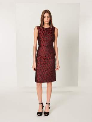 Oscar de la Renta Lurex Seagulls Jacquard Pencil Dress