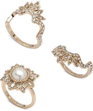 Marchesa Gold-Tone 3-Pc. Set Crystal & Imitation Pearl Stacker Rings