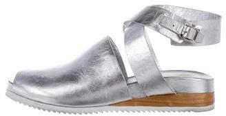 Halston Metallic Wrap-Around Sandals