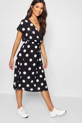 boohoo Mixed Polka Dot Button Front Midi Dress