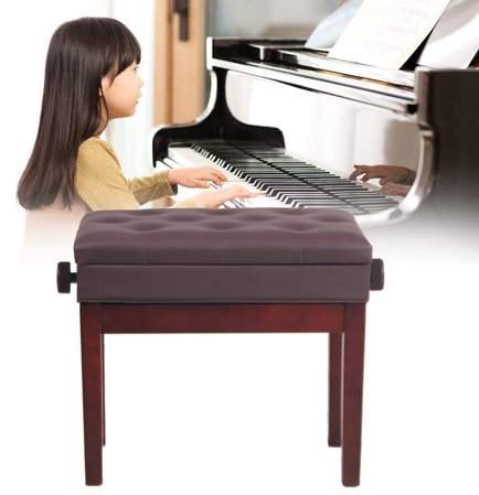 TRY Piano Bench Adjustable PU Leather Storage Stool Chair Musical Instrument