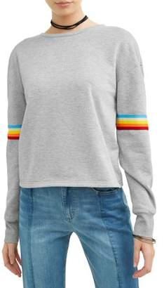 Eye Candy Juniors' Retro Rainbow Varsity Stripe Pullover Sweatshirt