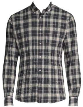 Officine Generale Plaid Stretch Cotton Button-Down Shirt
