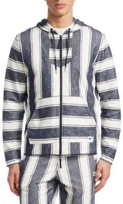 Madison Supply Striped Full-Zip Cotton Hoodie